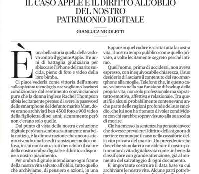 Il caso Apple e il diritto all'oblio del nostro patrimonio digitale